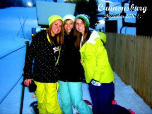Fun times on the slopes:Breann Miller '13, Paige Fisher '13, and Katie Kidder '13 pose for a picture at Cannonsburg Ski Area. They always love the winter season.Photo by Breann Miller.
