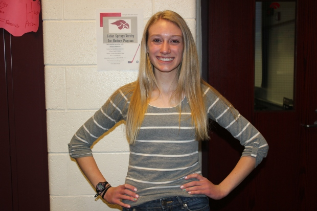 Fresh stripes: Ellie Ovokaitys '16 shows off her grey shirt. She was proud to be a freshman.