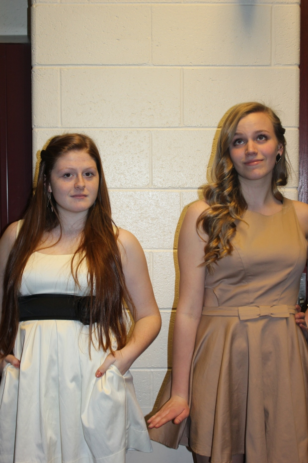 Truly fancy: Lauren Falicki '14 and Whitney Badge '14 dress for success. The have shown their school sprit.
