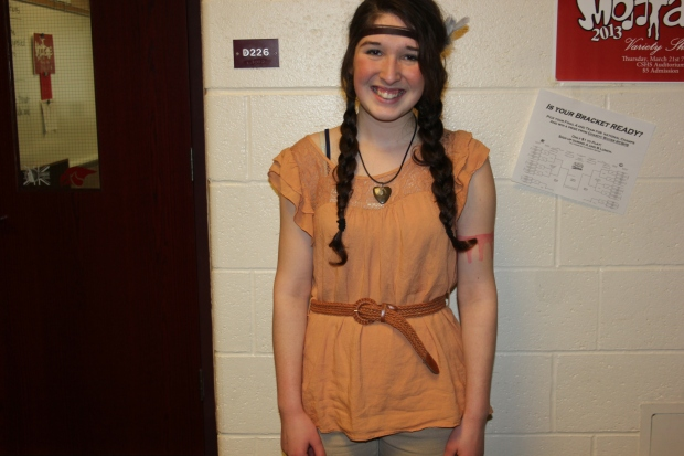 Pocahontas: Seira Kovach '14 dresses as the loved Disney princess Pocahontas. She made he costume from everyday clothing.
